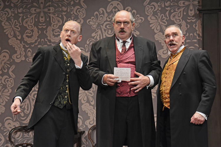 From L-R Steve Huison (Herbert Soppitt), Adrian Hood (Albert Parker) and Mark Stratton (Joe Helliwell)- When We Are Married CREDIT. Photograph By ©Nobby Clark