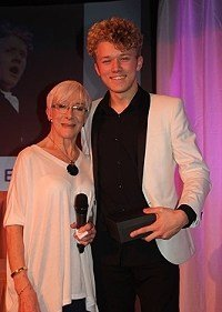 Charlie Ellerton with Actress Sheila Steafel (Honorary life vice president) Sir John Baird Award for the best actor of the year for the youth theatre