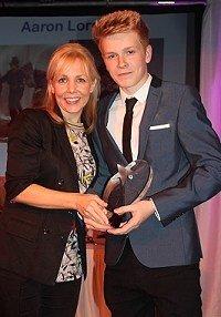 Aaron Lord with actress Claire Buckfield (vice president of Viva) Liza Goddard Comedy Award