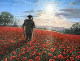 Soldier in field of poppies