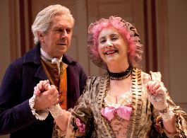 Nick Le Prevost as Sir Anthony and Gemma Jones as Mrs Malaprop in THE RIVALS.