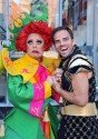 La Voix as Widow Twankey and Ben Richards as Abanazar in ALADDIN at the Shaw Theatre