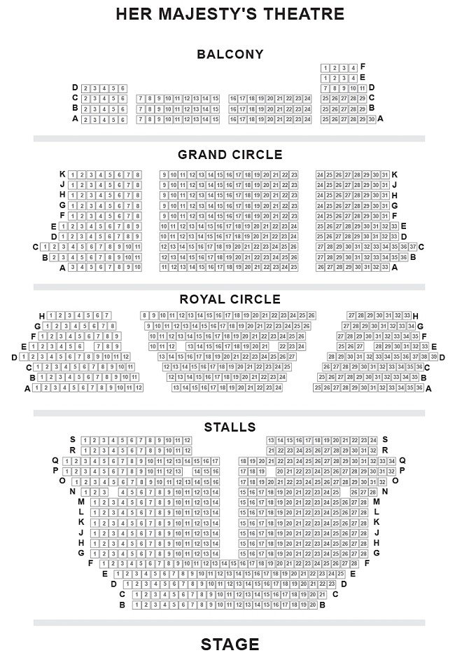 Her Majesty's Theatre Seating Plan London