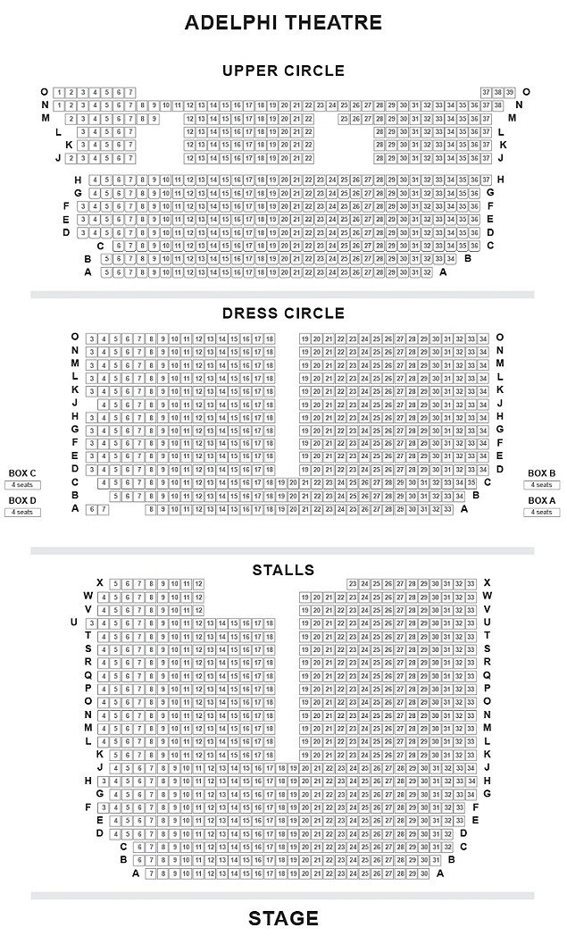 Adelphi Theatre Seating Plan, London West End
