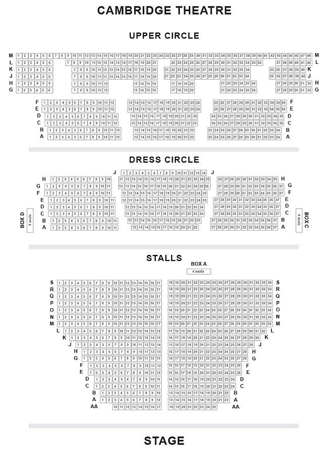 Cambridge Theatre Seating Plan Chart London UK