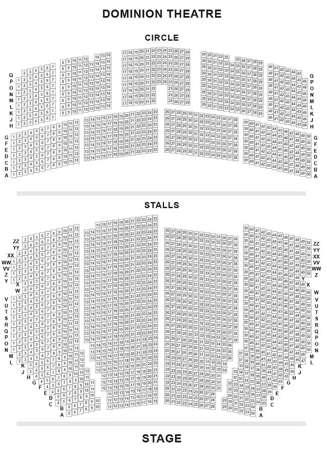 Dominion Theatre Seating Plan London