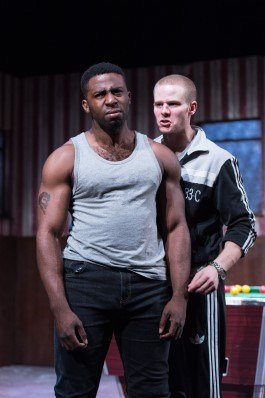 Mark Ebulue (Othello) & Steven Miller (Iago) in Frantic Assembly's Othello.