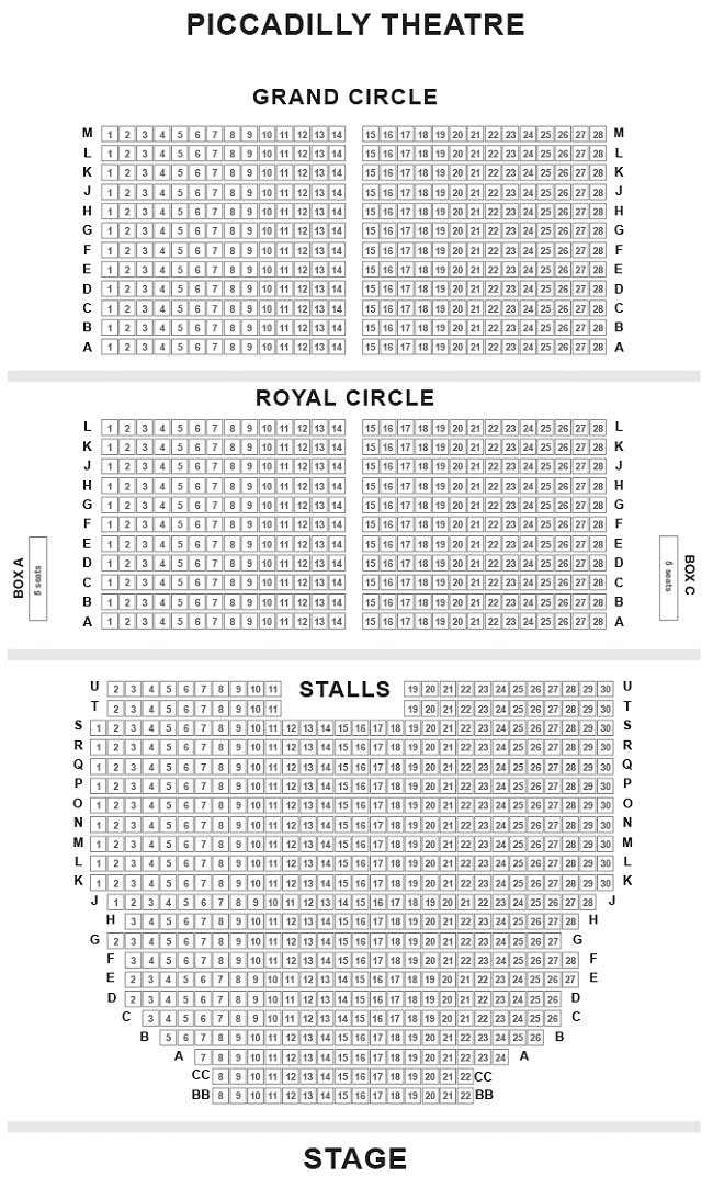 Piccadilly Theatre Seating Plan