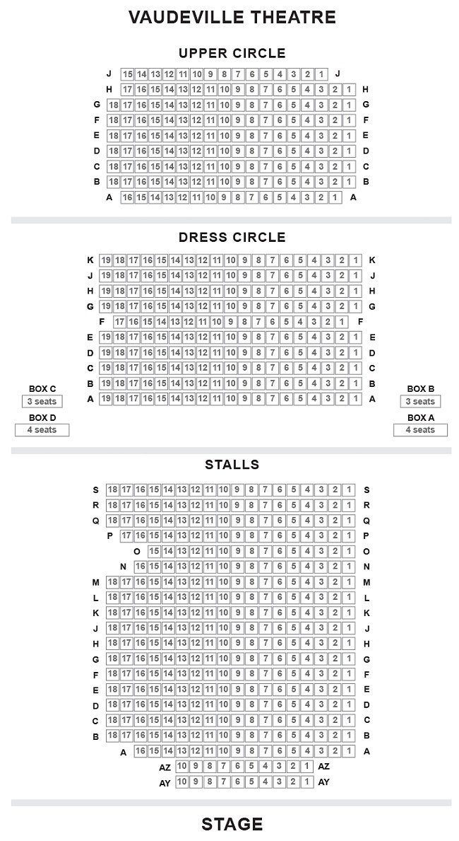 Vaudeville Theatre Seating Plan Chart