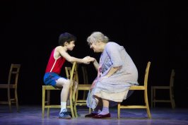 Brodie Donougher (Billy) and Gillian Elisa (Grandma) in Billy Elliot the Musical at Victoria Palace Theatre.