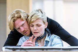 Maxine Peake and Michael Shaeffer in rehearsal for How To Hold Your Breath at the Royal Court. Credit Manuel Harlan.