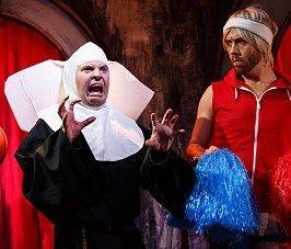 Alan Richardson as Catholic Nun and Conleth Kane as Jak