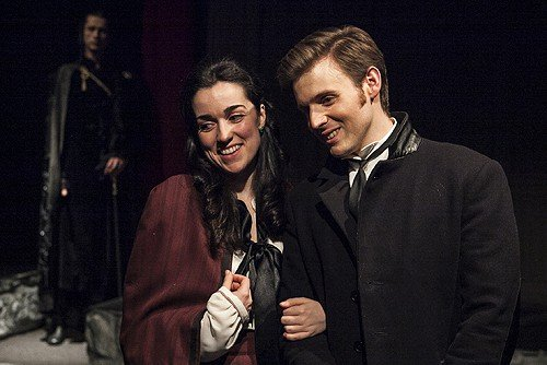 Cristinel Hogas as DRACULA, Josephine Rattigan as MINA and Mark Lawson as JONATHAN HARKER