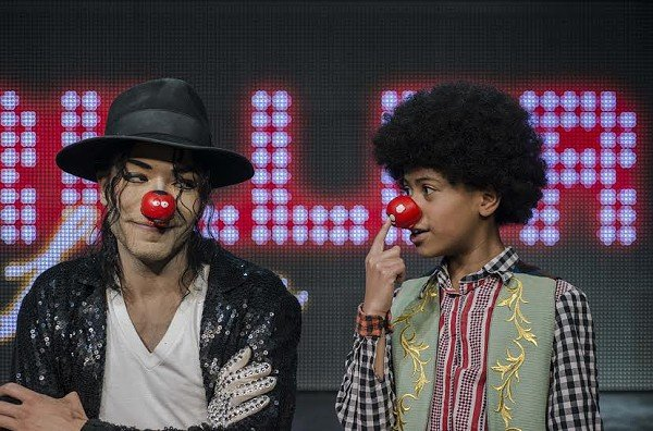 Lead vocalist David Jordan & Young MJ Ramon Mariqueo Smith get in the mood for Red Nose Day