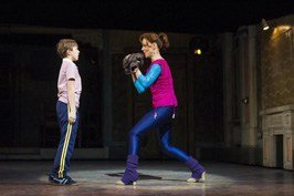 2. Thomas Hazelby (Billy Elliot) and Ruthie Henshall (Mrs Wilkinson) in Billy Elliot the Musical at the Victoria Palace Theatre.