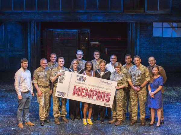 Tickets For Troops celebrate their 750,000th donated ticket with Beverley Knight and Tickets For Troops members ahead of Memphis the Musical at the Shaftesbury Theatre