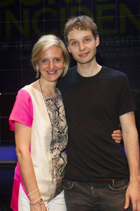 Marianne Elliott (Director) and Sion Daniel Young (Christopher) at The Curious Incident of the Dog in the Night-Time. Photo credit Dan Woller