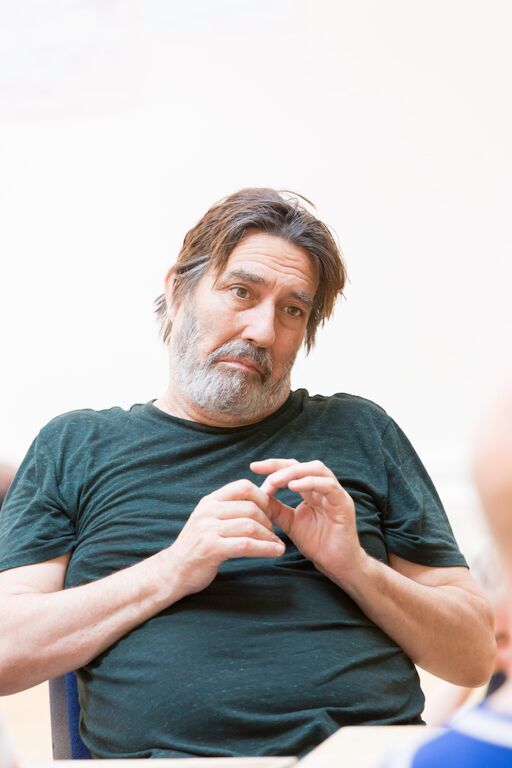 Ciarán Hinds (Claudius) in rehearsals for Hamlet Johan Persson