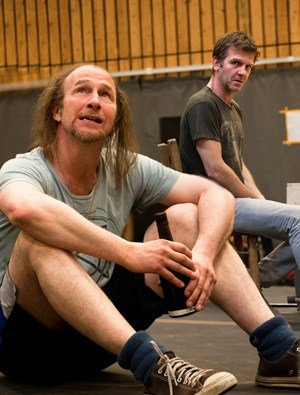 Paul Kaye and Jason Hughes in rehearsals for Our Country's Good.