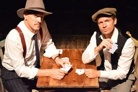 Bob Cryer as Gondorff and Ross Forder as Hooker in The Sting at Wilton's Music Hall
