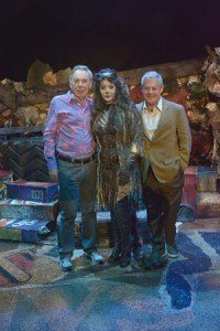 Andrew Lloyd Webber and Cameron Mackintosh with Jane McDonald as Grizabella on the set of Cats at Blackpool Opera House