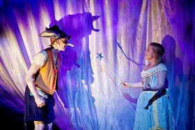Christian James as Pinocchio and Rachael Louise as the Fairy in The Adventures of Pinocchio.