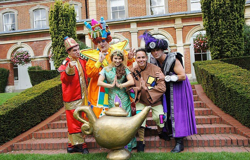 Aladdin cast: Charlie Guest, Bobby Crush, Jen Pringle, Luke Roberts and Scott Maslen