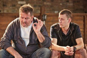 Eventide by Barney Norris, Up In Arms Theatre. James Doherty (John) & Hasan Dixon (Mark)