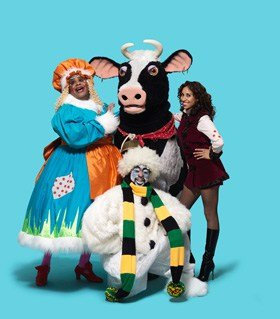 Clive Rowe Buttercup the cow Debbie Kurup and Kat B in Hackney Empire Jack and the Beanstalk 21 Nov 2015 Sun 3 Jan 2016