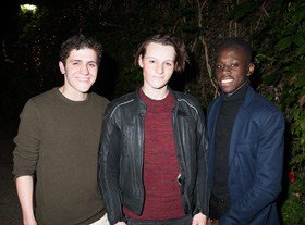 Dylan Llewellyn (Henry), Matthew Castle (Roger) and Michael Ajao (Maurice). Photo David Jensen