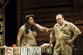 Shaun Williamson as Jim and Mica Paris as Sylvia. Photo by Johan Persson