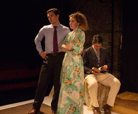 Jamie Chandler, Chloe Walshe, Alex Warner in The Man Who Had All the Luck at King's Head Theatre, photography by George Linfield