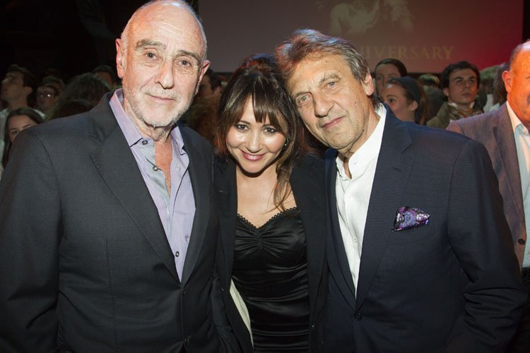 Alain Boublil (Author), Frances Ruffelle (Eponine) and Claude-Michel Schonberg (Music) backstage after the curtain call