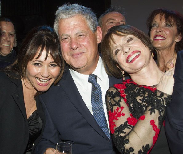 Frances Ruffelle (Eponine), Cameron Mackintosh (Producer) and Patti LuPone (Fantine) backstage after the curtain call