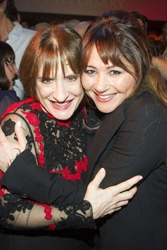 Patti LuPone (Fantine) and Frances Ruffelle (Eponine) backstage after the curtain call