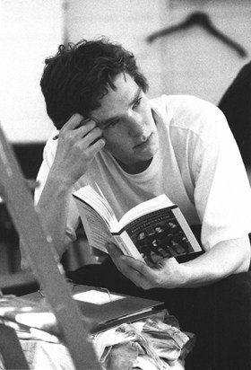 Benedict Cumberbatch rehearsing for Loves Labours Lost for Regents Park Open Air Theatre in 2001