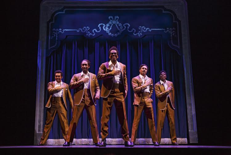 Jesse Nagar, Donald Webber Jr, Julius Thomas III, Ephraim M Sykes, Jawan M Jackson as The Temptations, photo by Joan Marcus