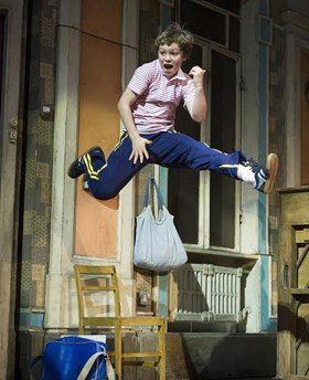 Euan Garrett (Billy) in Billy Elliot the Musical at the Victoria Palace Theatre. Photo by Alastair Muir