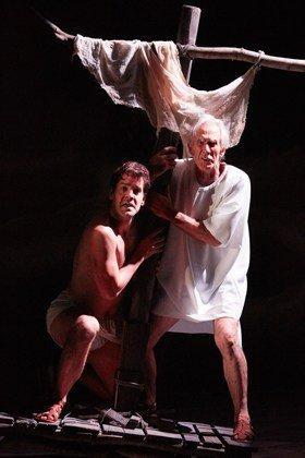 Ben Hur at the Tricycle Theatre. John Hopkins (Ben Hur) and Richard Durden.