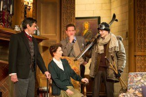 Eddie Eyre (Trotter), Eunice Roberts (Mrs Boyle), Philip Cox (Mr Paravicini) and Rob Heanley (Giles Ralston) in The Mousetrap