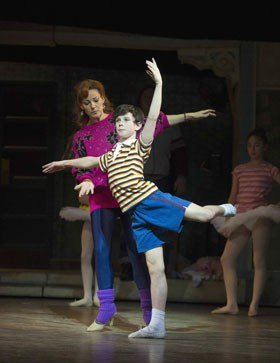 2014 Ruthie Henshall (Mrs Wilkinson) and Brodie Donougher (Billy Elliot) in Billy Elliot the Musical at the Victoria Palace Theatre. Photo by Alastair Muir