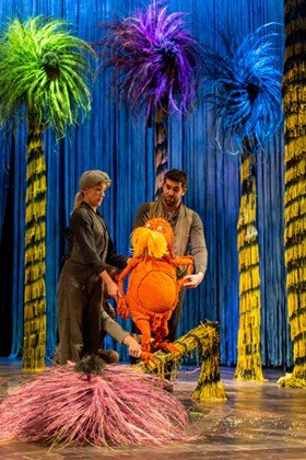Laura Cubitt (Puppeteer), Ben Thompson (Puppeteer) and Simon Lipkin (The Lorax) - The Lorax at The Old Vic.