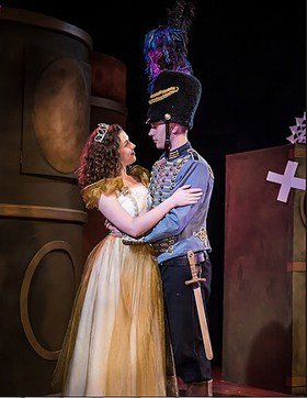 Bridget Costello (Princess) and Samuel J Weir (Brian The Brave) in The Tinderbox at Charing Cross Theatre