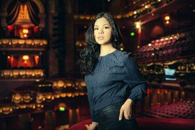 Portrait of Eva Noblezada (star of Miss Saigon) at the Prince Edward Theatre, Soho on Friday May 9 2014.