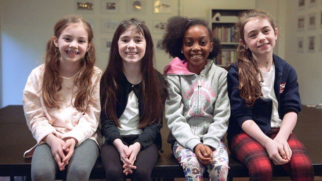 Royal Shakespeare Company production of Matilda The Musical - Emily-May Stephenson, Clara Read, Zaris-Angel Hator, Evie Hone (l-r)