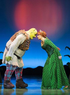 SHREK THE MUSICAL 2015 company. Dean Chisnall (Shrek) and Bronté Barbé (Princess Fiona).