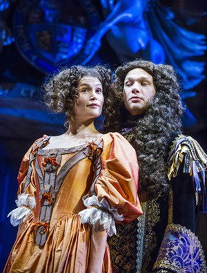 Gemma Arterton (Nell Gwynn) and David Sturzaker (Charles II) in Nell Gwynn at the Apollo Theatre.