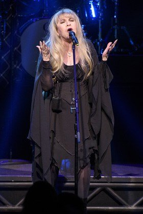 """NEW YORK, NY - APRIL 26: Stevie Nicks of the band Fleetwood Mac performs live on stage with the cast of ""School of Rock - The Musical"" at the Winter Garden Theatre on April 26, 2016 in New York City. (Photo by Matthew Eisman/Getty Images for School of Rock - The Musical)"""