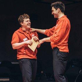l-r Jonny Weldon and Ben Mann in Happy To Help, Park Theatre (c)David Monteith-Hodge