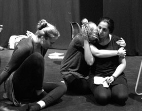 Jessica Aquilina, Sian Eleanor Green and Serin Ibrahim in rehearsals for Under My Thumb at Greenwich Theatre